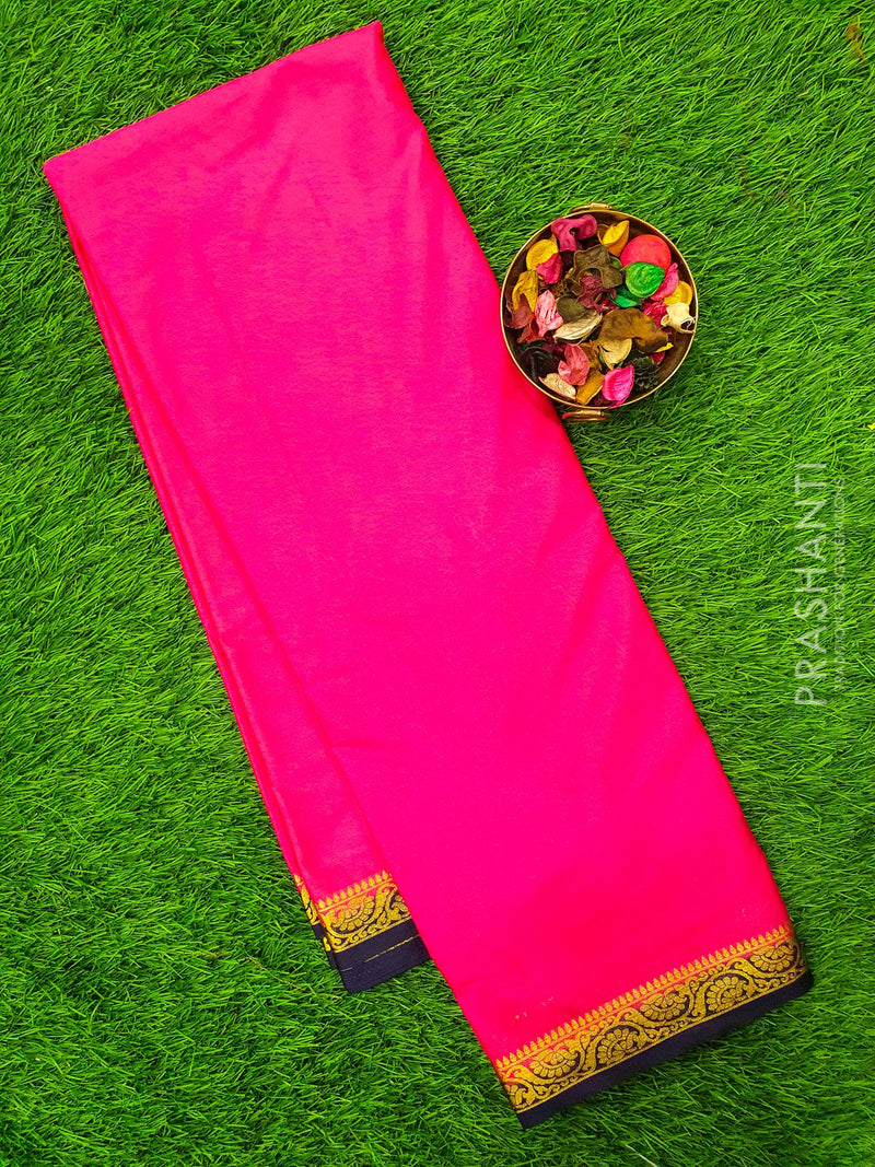 Semi Crepe saree pink and navy blue with plain body and rich zari border for Rs.Rs. 990.00 | Semi Crepe Sarees by Prashanti Sarees