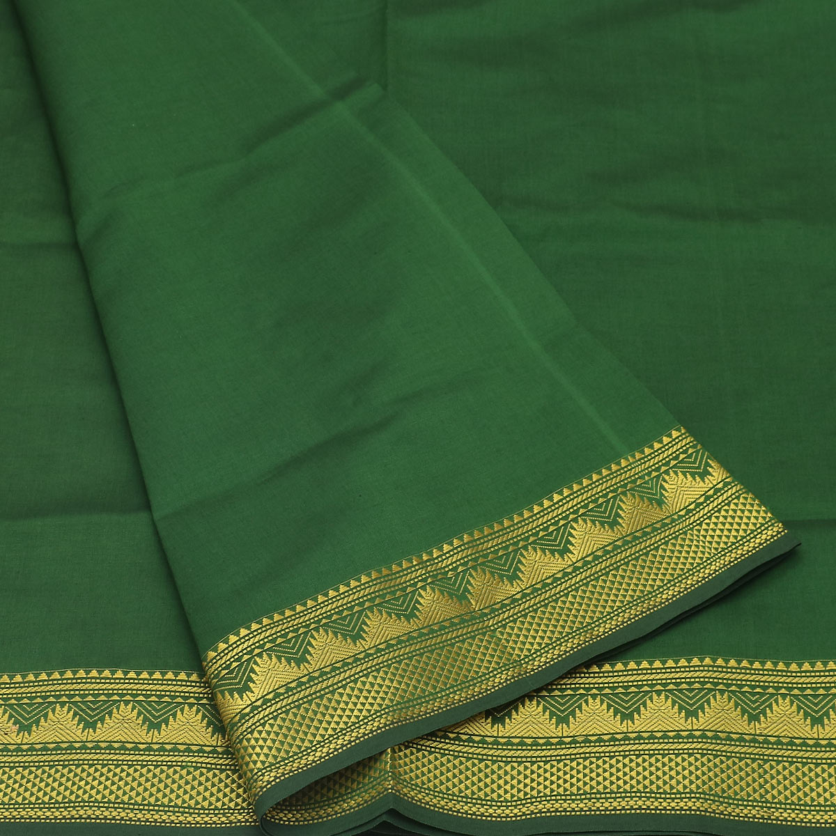Semi Silk Cotton Saree Green and brown with Temple Zari border for Rs.Rs. 1850.00 | by Prashanti Sarees