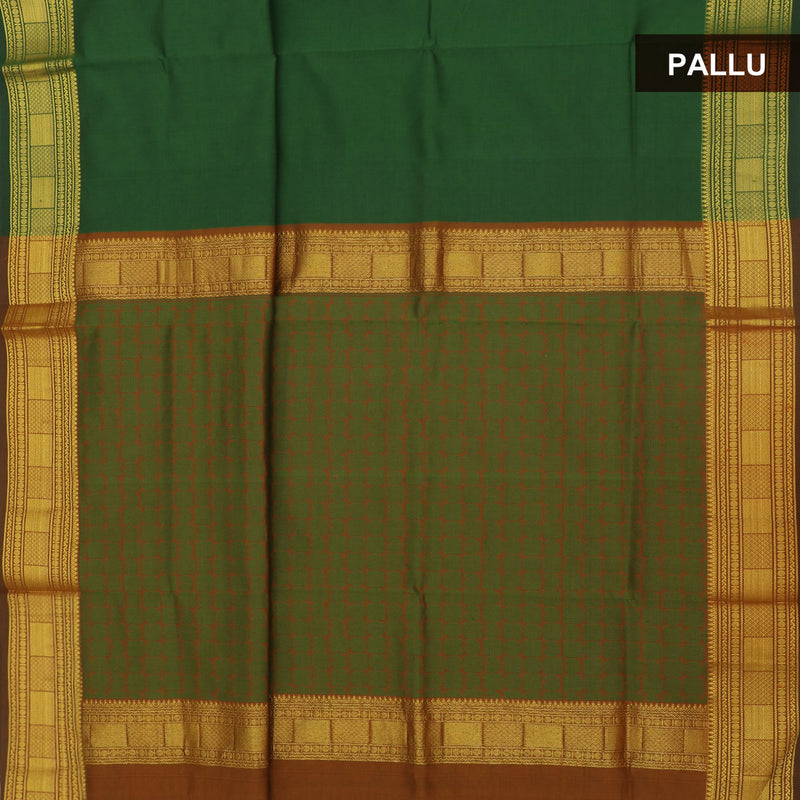 Semi Silk Cotton Saree Green and brown with Zari border for Rs.Rs. 1850.00 | Cotton Sarees by Prashanti Sarees