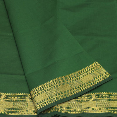 Semi Silk Cotton Saree Green and brown with Zari border