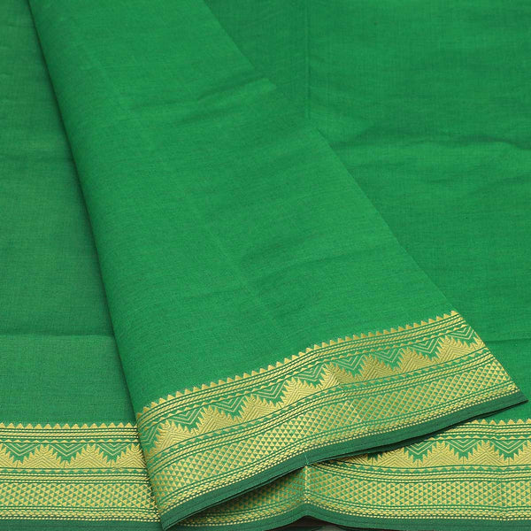 Semi Silk Cotton Saree Green and maroon with temple zari border