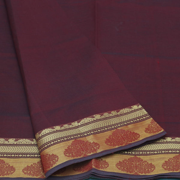 Semi Silk Cotton Saree Maroon and green with floral border