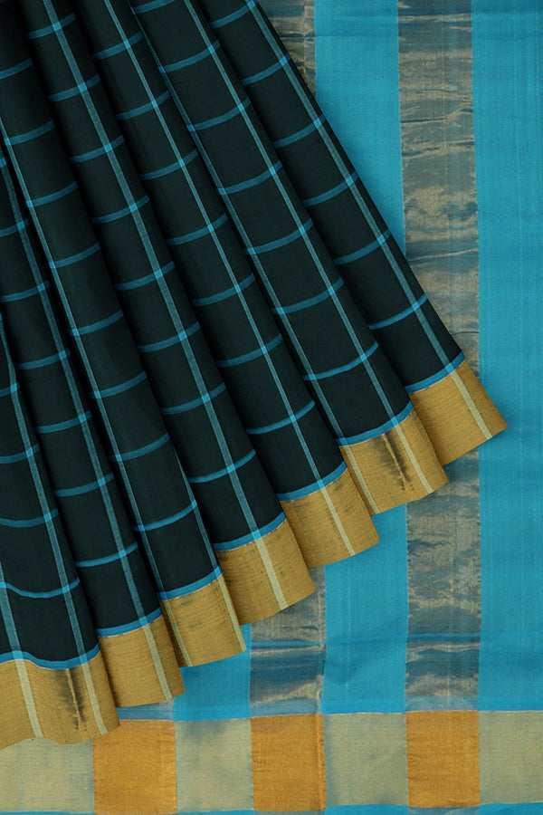 poly cotton saree black and sky blue checked pattern with golden zari border for Rs.Rs. 1690.00 | Cotton Sarees by Prashanti Sarees