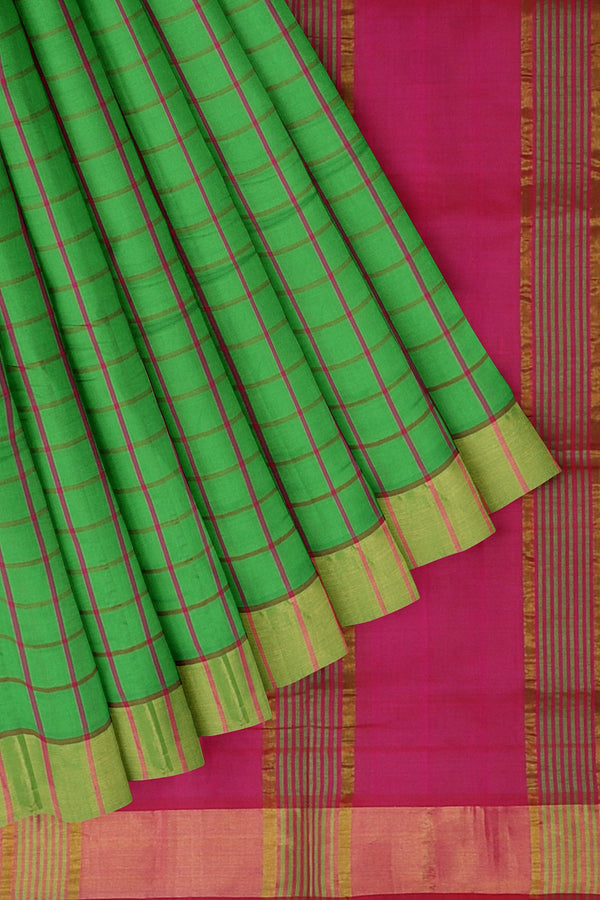 Semi Silk Cotton Saree green and pink checked pattern with golden zari border