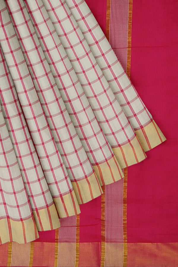 poly cotton saree white and pink checked pattern with golden zari border