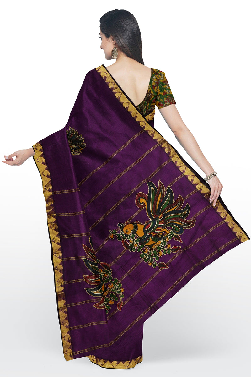 Silk Cotton Saree indigo purple with kalamkari peacock applique work