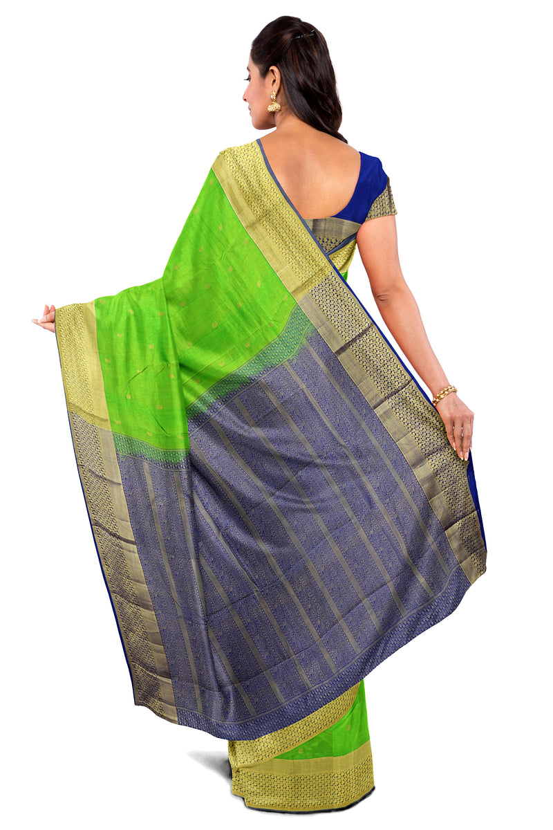 Kanjivaram Silk Saree Parrot Green with Buttas and Mango Zari border