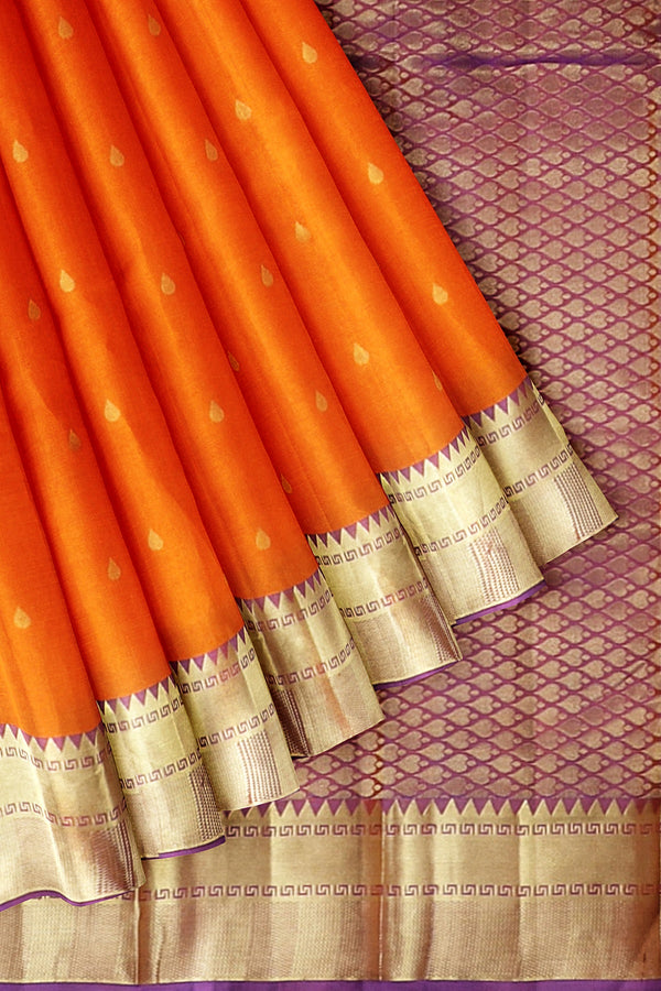Kanjivaram Silk Saree Orange with Buttas and Temple Zari border