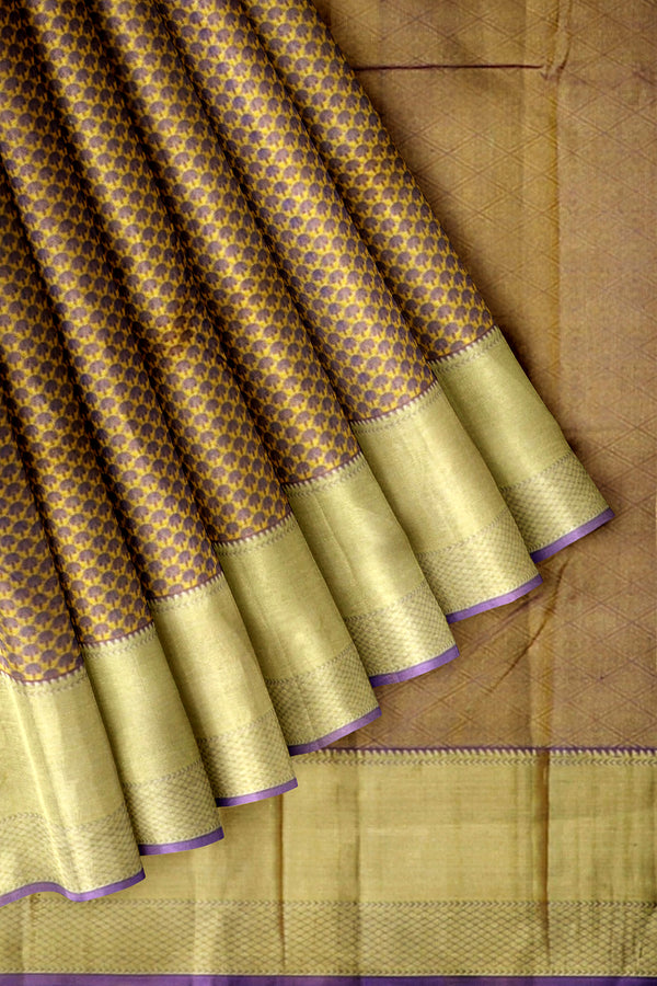 Kanjivaram Silk Saree Yellow with Embossed and Zari Border