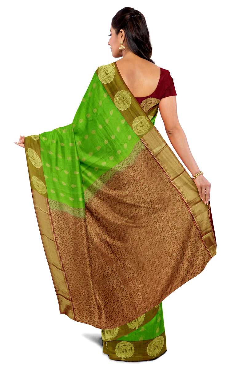Kanjivaram Silk Saree Pear Green with Buttas and Peacock Zari Border