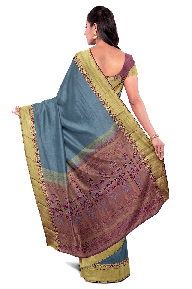 Kanjivaram Silk Saree Grey with Buttas and Floral zari border