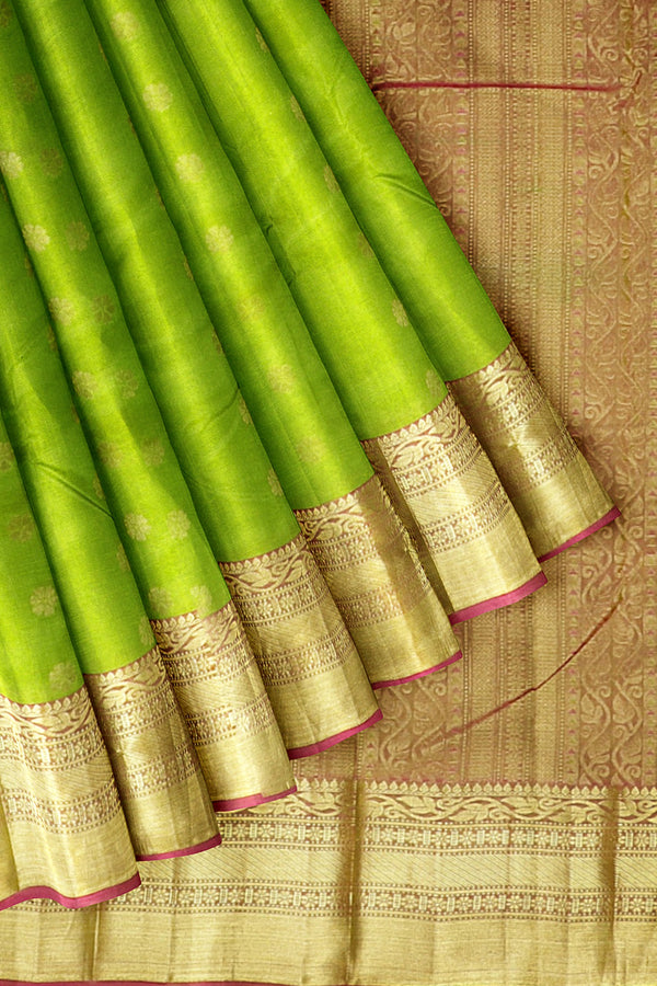 Kanjivaram Silk Saree Pista Green with Flower Buttas and Floral Zari border
