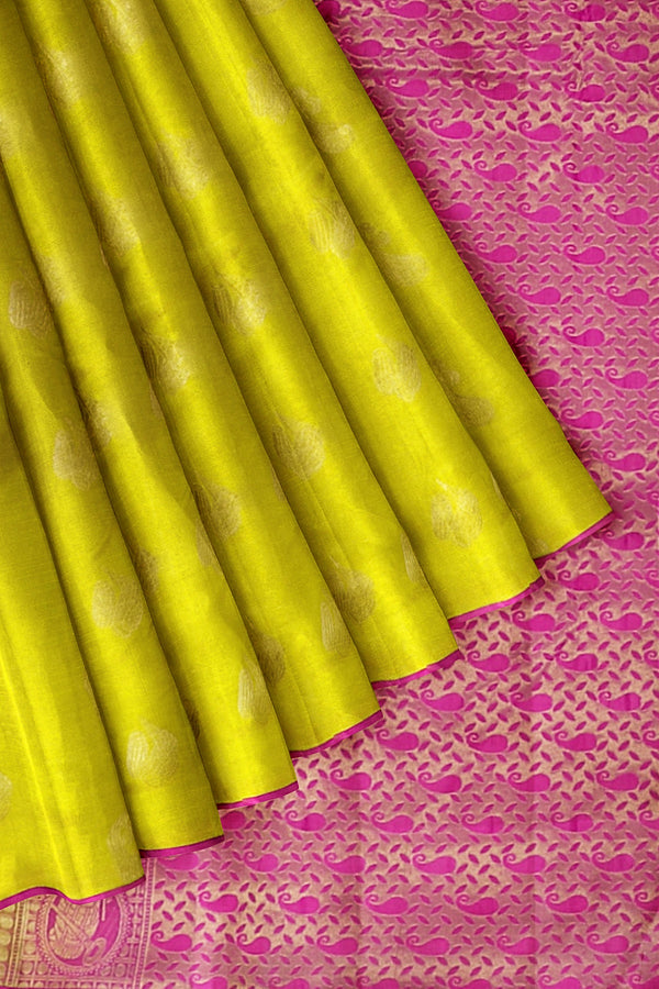 Kanjivaram Silk Saree Lime Green with Instrumental Buttas and Jacquard Blouse