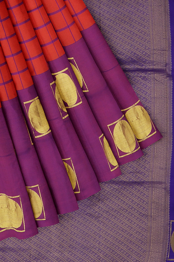 kanjivaram silk saree dual shade of orange and dual shade of purple cheched pattern with geometric zari buttas