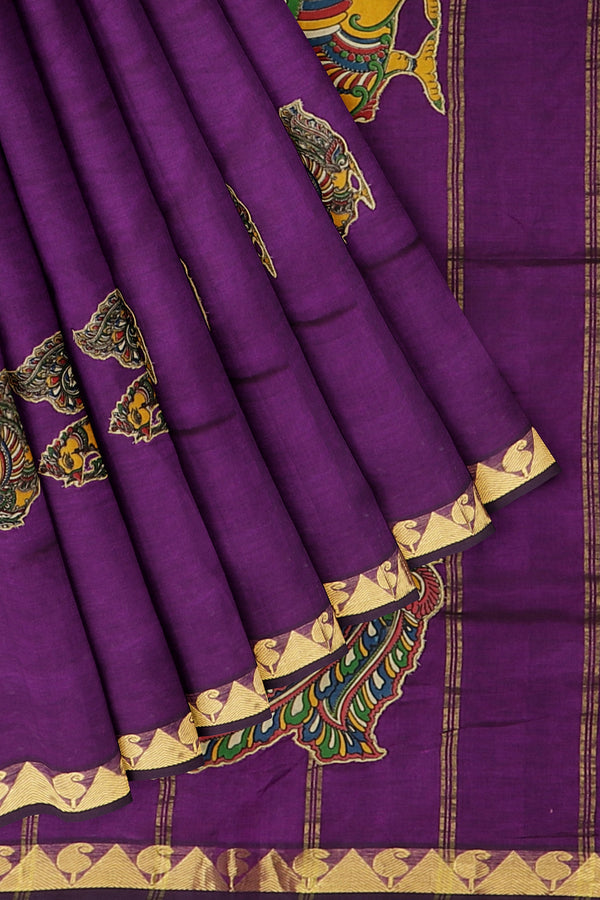 Silk Cotton Saree indigo purple with kalamkari applique work for Rs.Rs. 3850.00 | Kalamkari Sarees by Prashanti Sarees