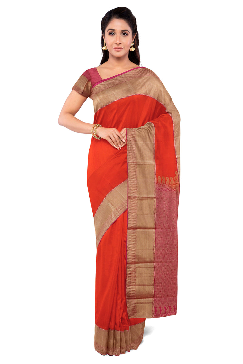 Kanjivaram Silk Saree Brick Orange with big Zari Border