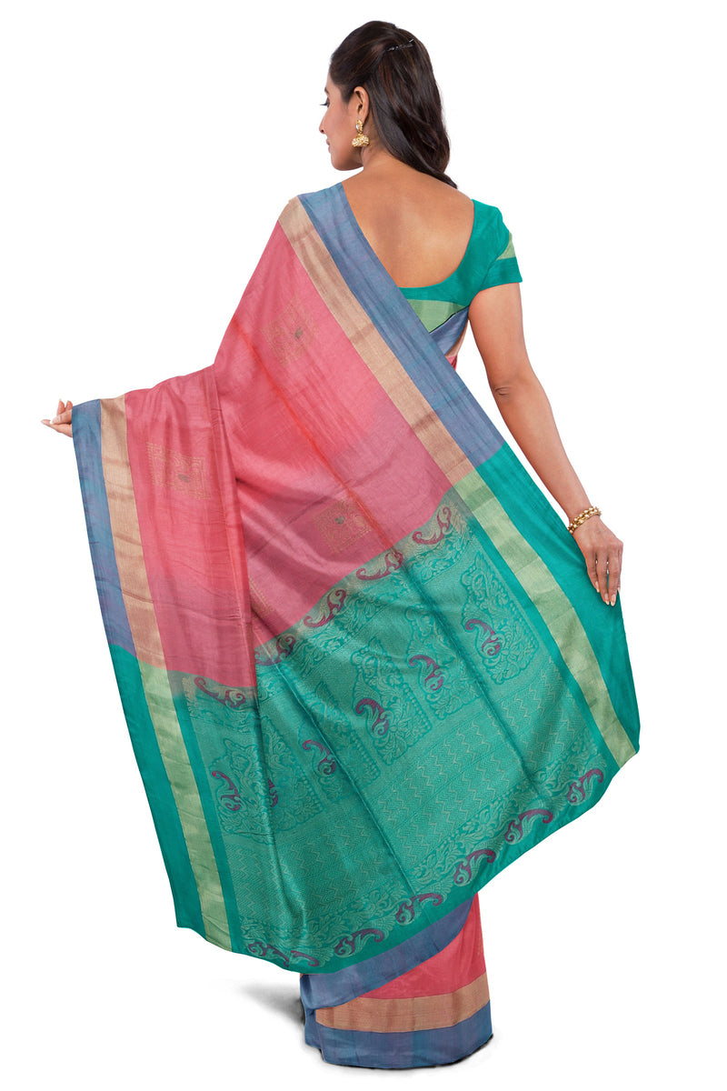 Soft Silk Saree French Rose Color with Buttas and Simple Zari Border for Rs.Rs. 7075.00 | Silk Sarees by Prashanti Sarees