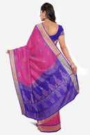 Soft Silk Saree Pink with Thread Buttas and Blue with simple Zari border