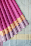 Jute Silk Saree Magenta and Simple Zari Border