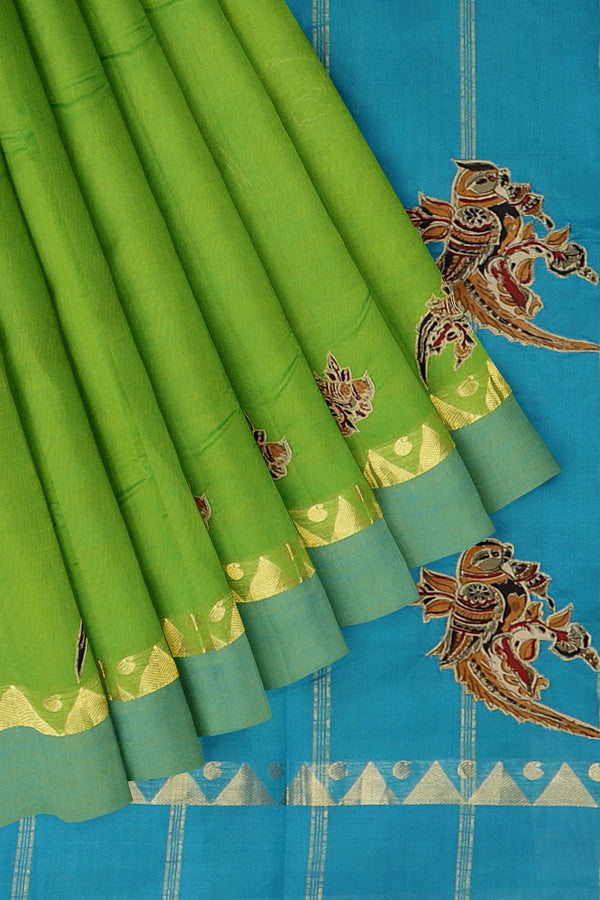 Silk Cotton Saree green and sky blue with kalamkari applique work