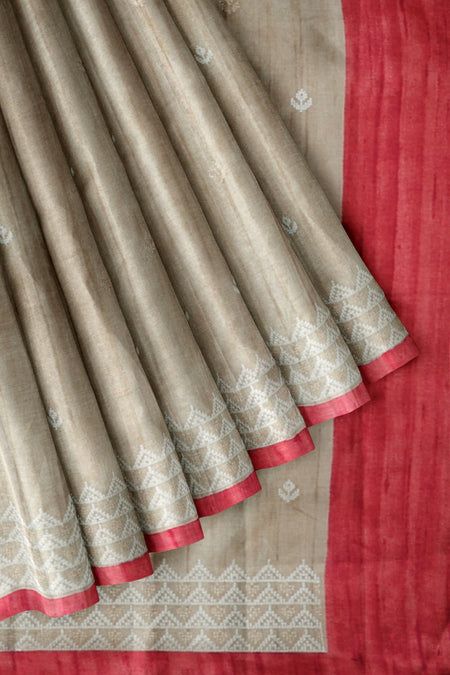 Semi tussar beige and tomato pink with self embroidery