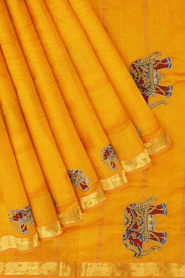 Silk Cotton Saree mango yellow with elephant kalamkari applique work