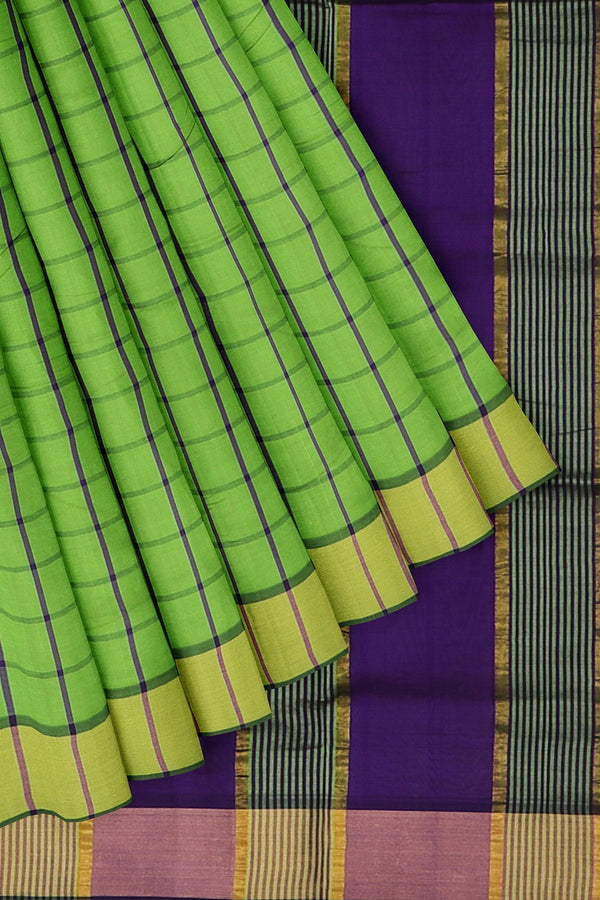 poly cotton saree green and grape checked pattern with golden zari border