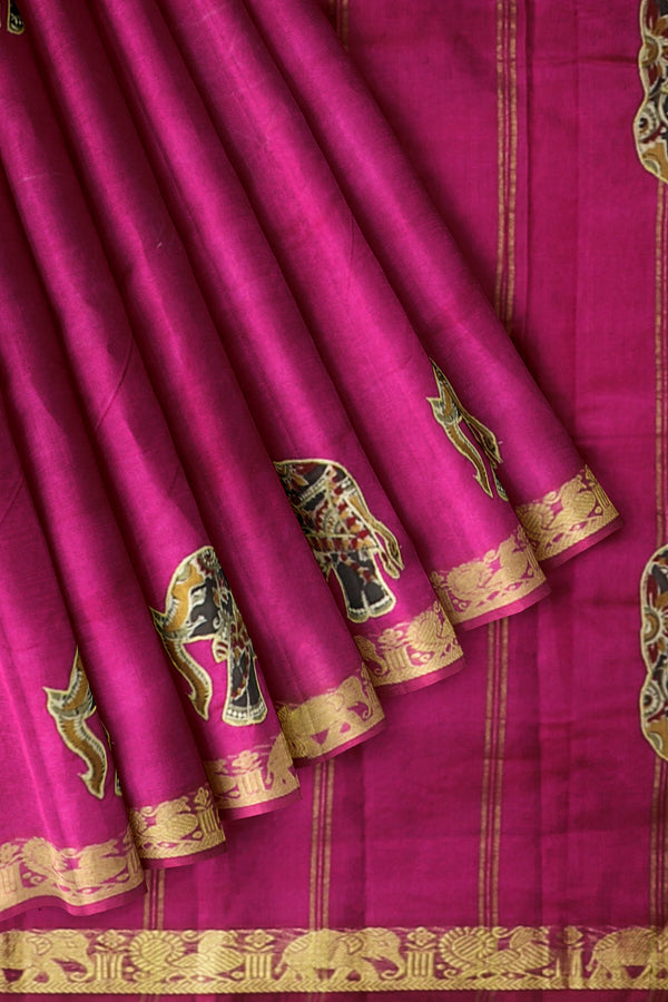Silk Cotton Saree magenta with kalamkari applique work