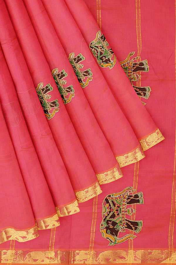Silk Cotton Saree dual shade of candy pink with kalamkari applique work
