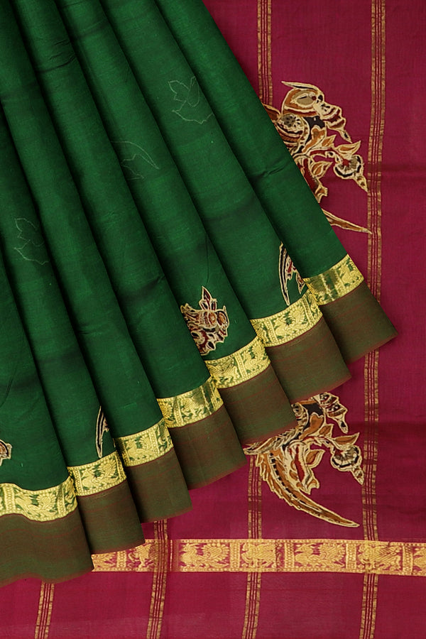 Silk Cotton Saree bottle green and pink with kalamkari applique work