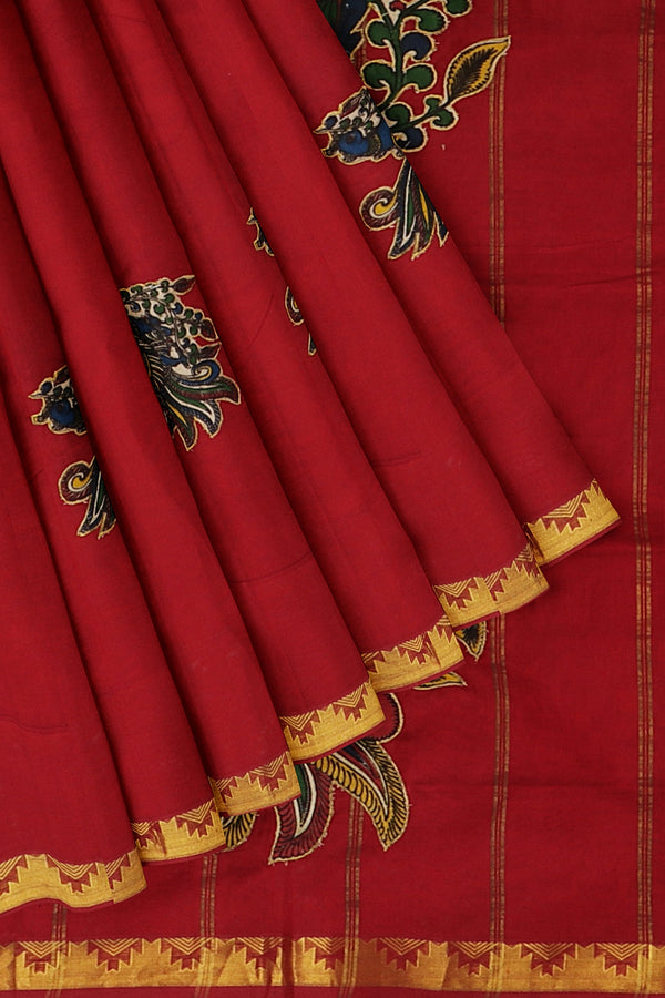 Silk Cotton Saree maroon with annam kalamkari applique work