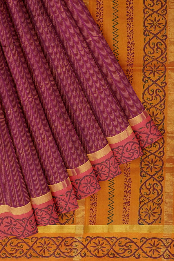 Silk cotton saree grape and mustard orange with floral hand block prints and simple zari border