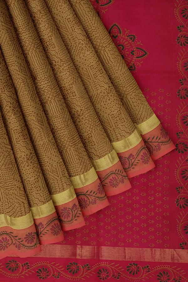 Silk cotton saree biscuit colour and pink with geometric pattern hand block prints and simple zari border