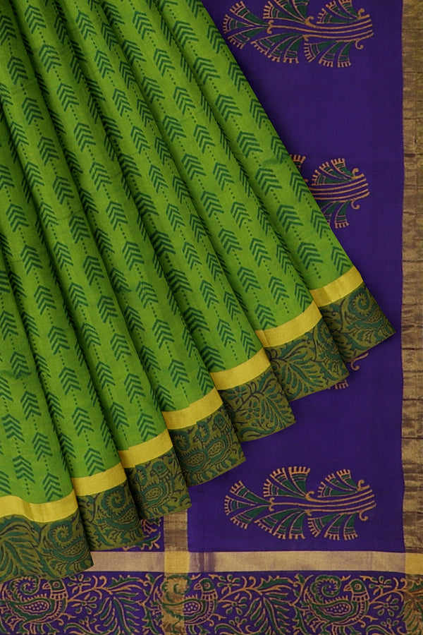 Silk cotton saree green and royal blue with peacock hand block prints and simple zari border