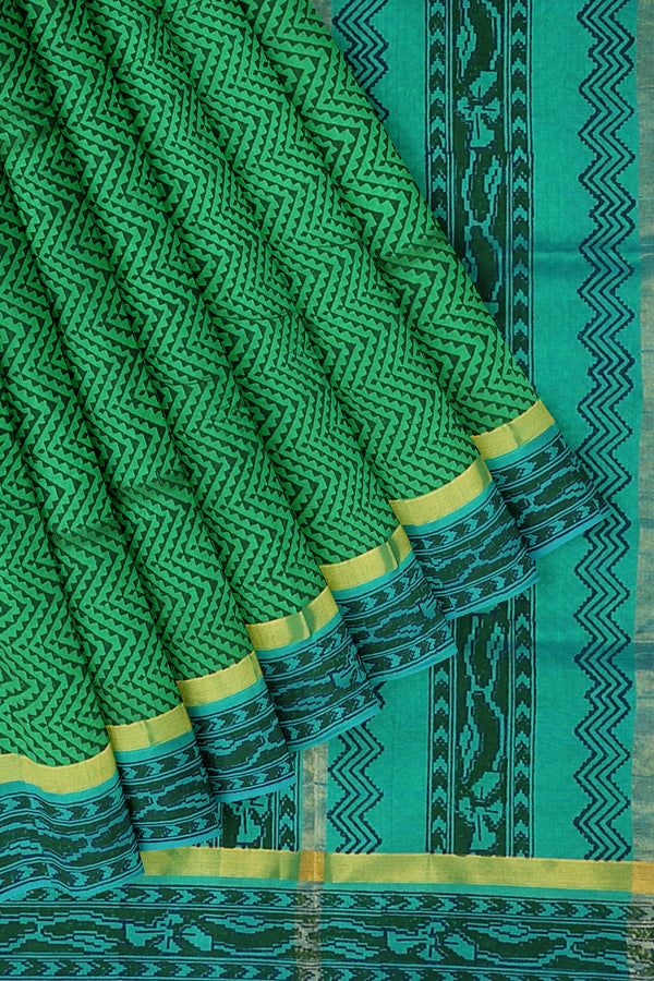 Silk cotton saree green and sky blue with wavey hand block prints and simple zari border