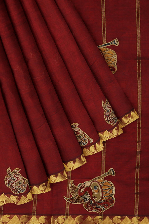 Silk Cotton Saree maroon with kalamkari applique work for Rs.Rs. 3695.00 | Kalamkari Sarees by Prashanti Sarees