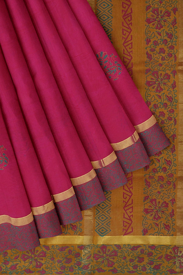 Silk cotton saree pink and mustard yellow with peacock hand block prints and simple zari border