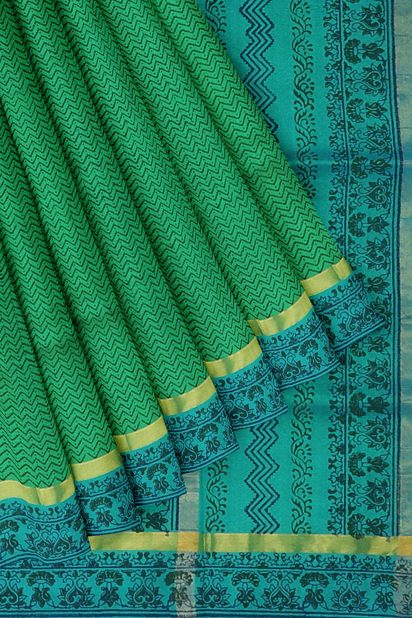 Silk cotton saree green and sky blue with wavey floral hand block prints and simple zari border