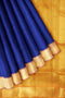 Silk cotton saree Blue and Honey color with zari border