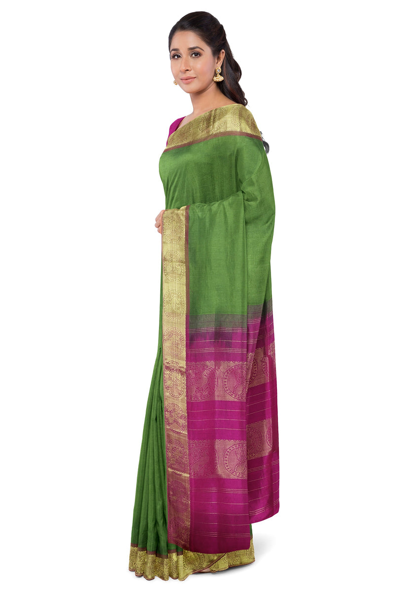 silk cotton Saree Mehandi Green and Pink with Peacock zari border