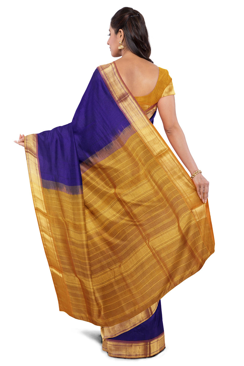 Silk Cotton saree Blue and Honey color with Simple zari Border