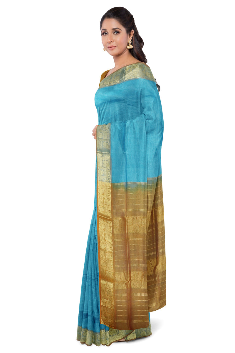 Silk Cotton Saree Sky blue and Mustard with Annam and Mango Zari Border
