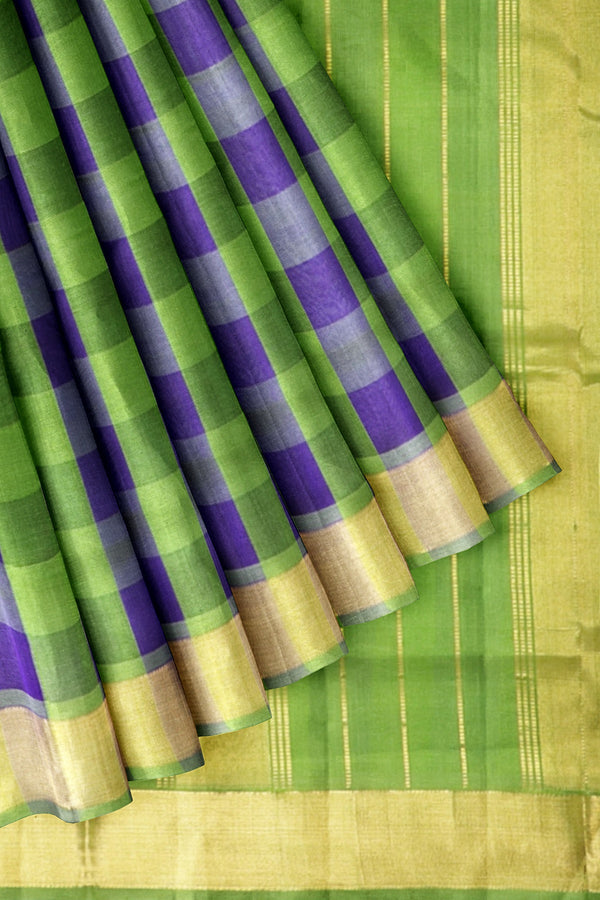 Silk Cotton Saree Blue and Moss Green Paalum Pazhamum Checks with Zari Border