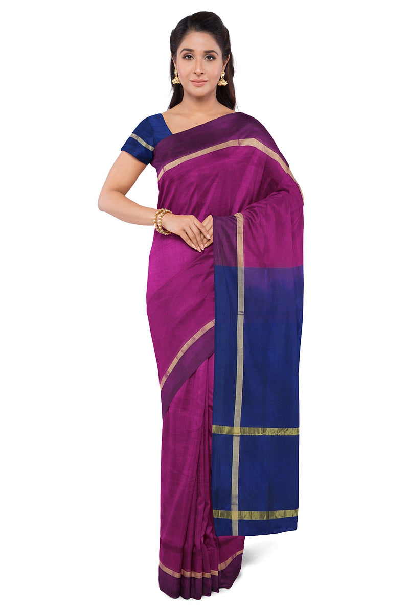 Silk Cotton Saree Magenta and Blue with Simple Zari Border