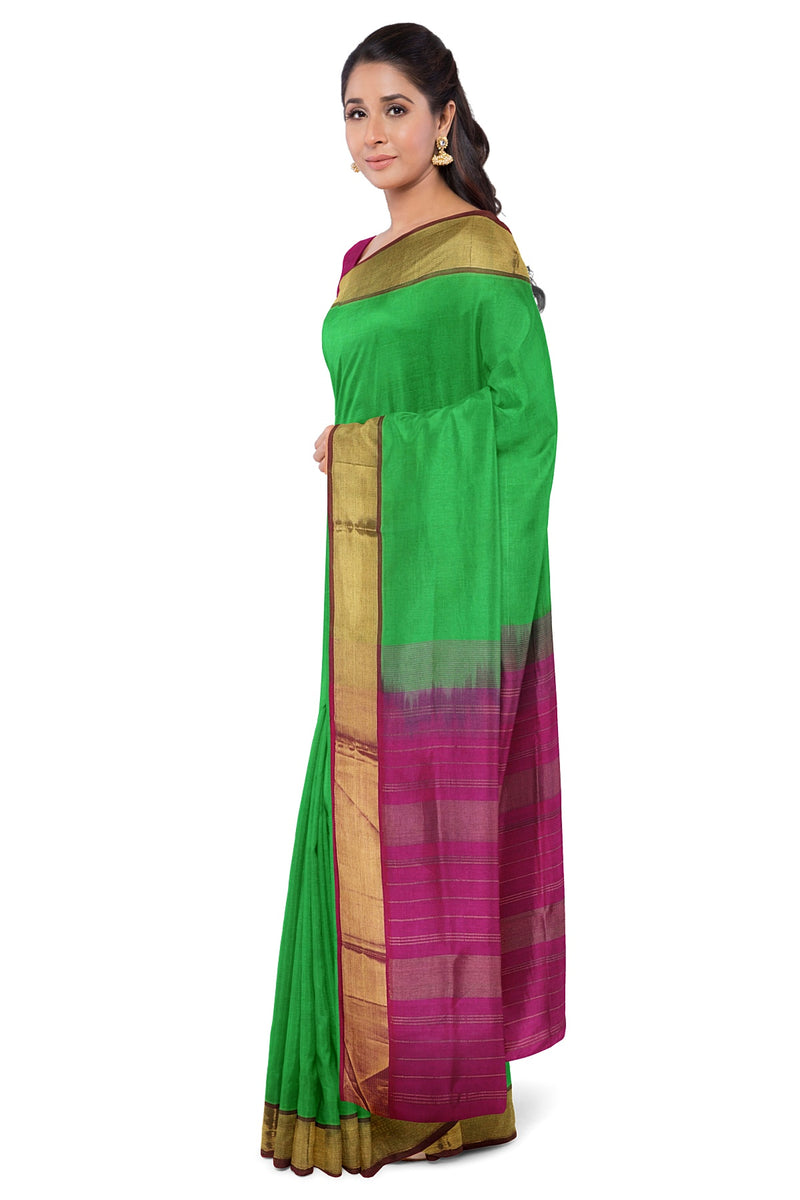 Silk Cotton Saree Light Green and Pink with simple Zari border