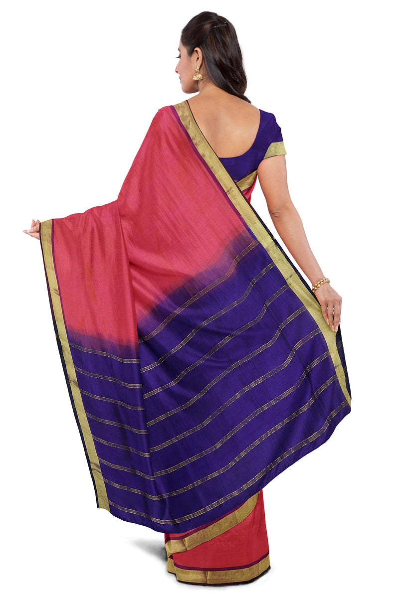 Silk cotton Saree Dual Shade of Pink and Blue with Zari border