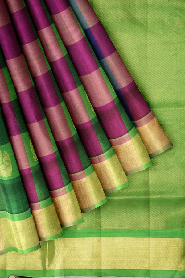 Silk Cotton Saree Multi Color with Buttas Paalum Pazhamum checks and Light green with Zari Border