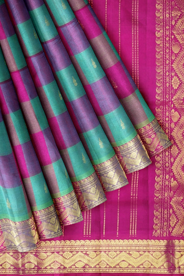 Silk Cotton Saree Teal Blue and Pink with Buttas and Paalum Pazahamum Checks with Temple zari Border