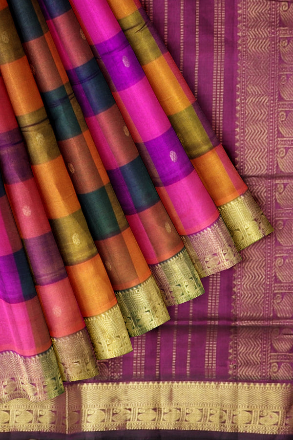 Silk Cotton Saree Multi color buttas with Paalum Pazhamum checks and Violet with Mango zari Border