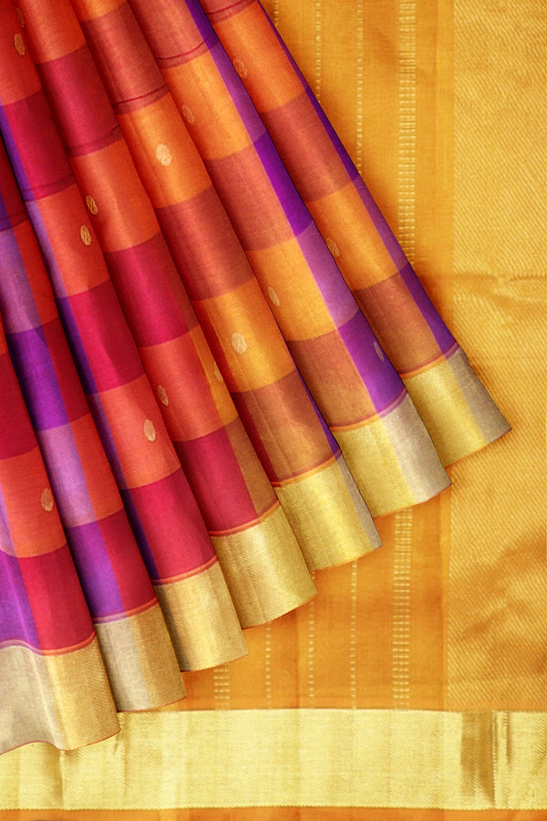 Silk Cotton Saree Multi Color Buttas with Paalum pazhamum Checks and Mustard with Zari Border